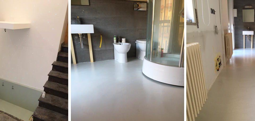 Pavimenti e rivestimenti soggiorno e bagno con vasca in resina