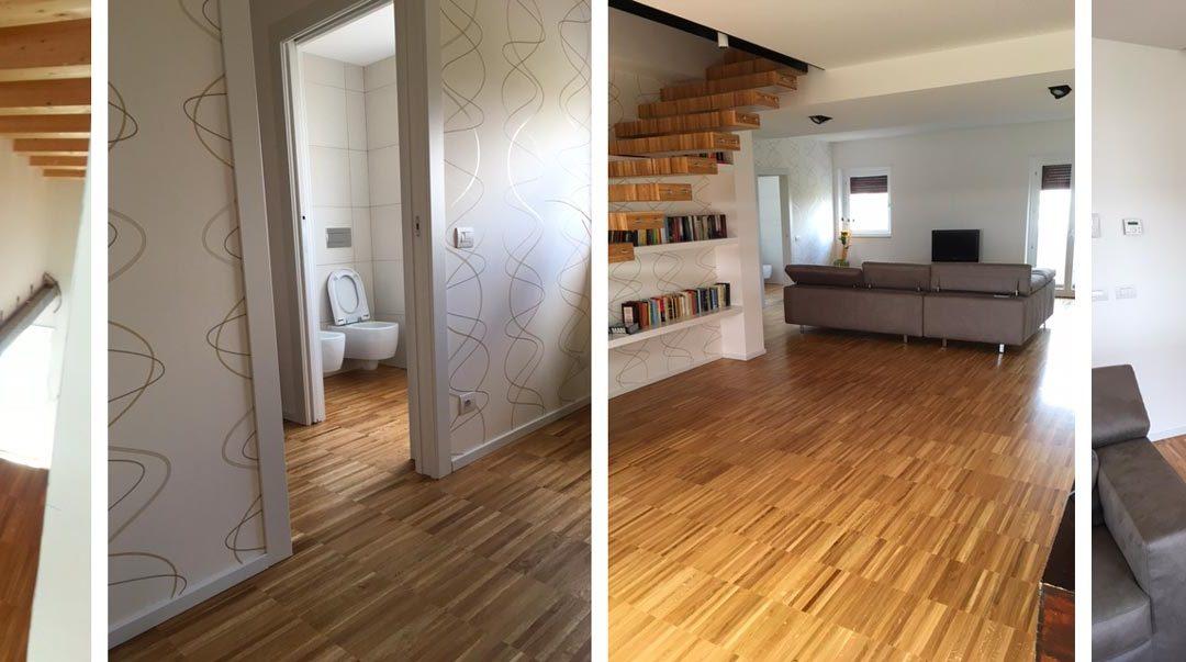 Pavimentazione in legno Villetta: parquet e scale in legno