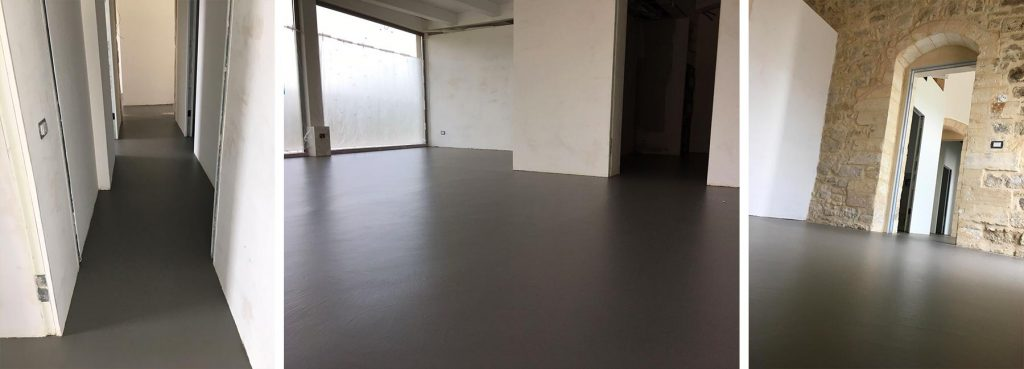 pavimento in resina grigio