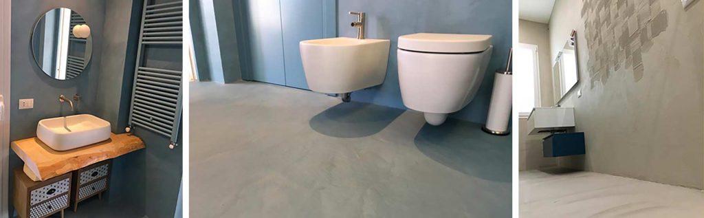bagni con pavimento pareti resina