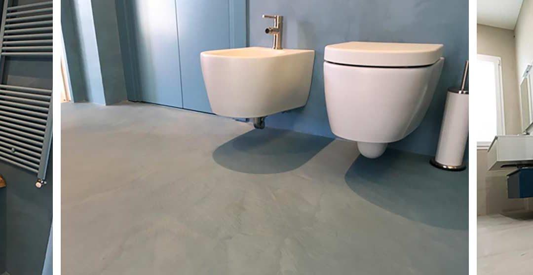 Pareti e pavimenti di bagni in resina